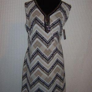JM Collection Tan Black & White Dress NWT